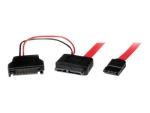 StarTech.com 0.5m Slimline SATA Female to SATA with SATA Power Cable Adapter (SLSATAF50CMS) - SATA cable - 50 cm